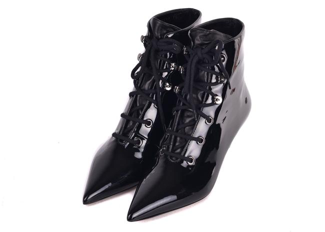 Item - Womens Black Patent Pony-style Calfskin Ankle Boots/Booties