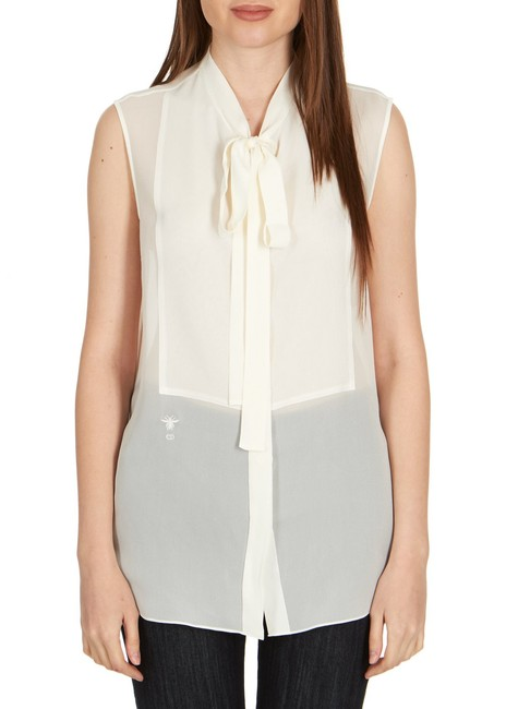 Item - Womens Ivory Silk Neck Tied Front Sleeveless Blouse