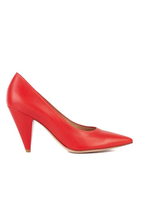Item - Womens Red Leather Sculptured Pumps