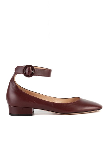 Item - Womens 25 Maroon Leather Ankle Strap Flats Sandals