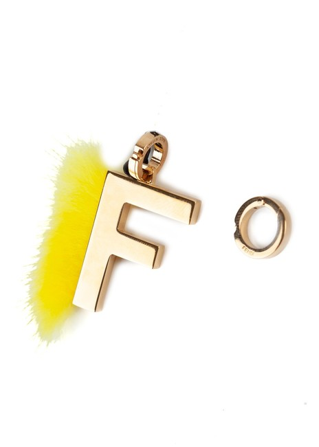 Item - Womens Gold F Letter Yellow Mink Fur Abclick Bag Key Ring Jewelry