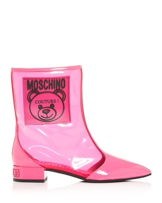 Item - Couture Teddy Bear Women's Transparent Pink Boots/Booties