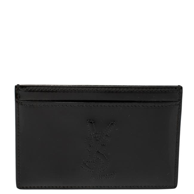 Item - Yves Black Patent Leather Card Holder Wallet