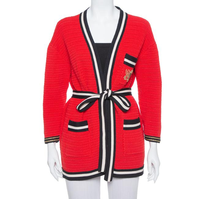 Item - Red Knit Contrast Trim Detail Open Front Belted Cardigan