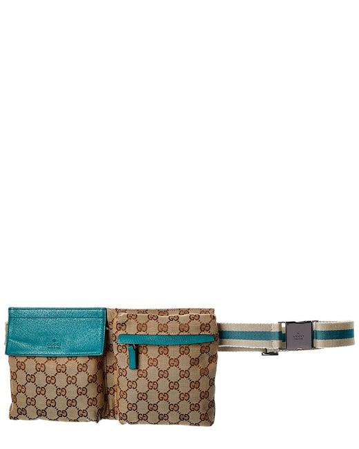 Item - Waist Bag Pre-owned Brown Gg Canvas & Blue Leather 7375-1 Tote