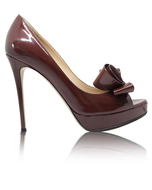 Item - Brown Couture Bow Peep Toe Pump Formal