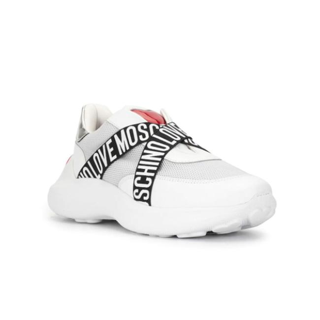 Item - Love Women's Eco Leather Heart Logo Strap Low Top White Sneaker Athletic