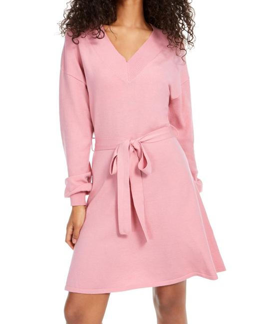 Item - XS Women's Sweater Pink Size Ribbed Belted V-neck Cocktail Dress