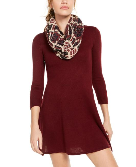 Item - L Sweater Red Size Large Junior 3/4 Sleeve Scarf Cocktail Dress