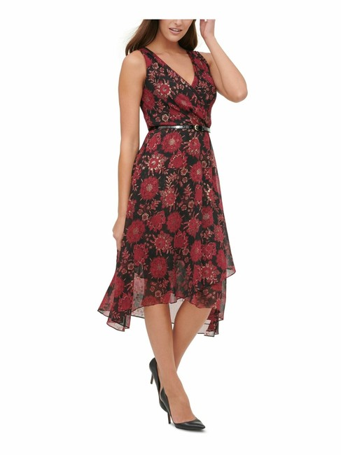 Item - Women Red Size 8 Shift Chiffon Floral Midi Belted Cocktail Dress