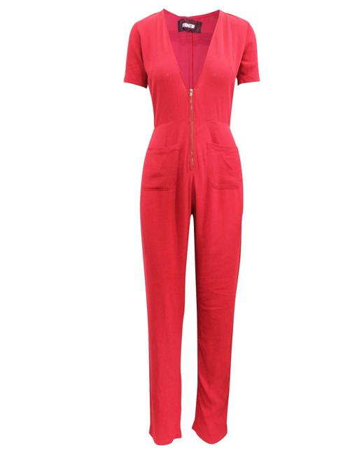 Item - Red with Zipper At The Front Romper/Jumpsuit