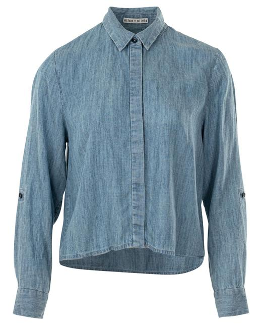 Item - Cropped Denim Long Sleeved Shirt Button-down Top