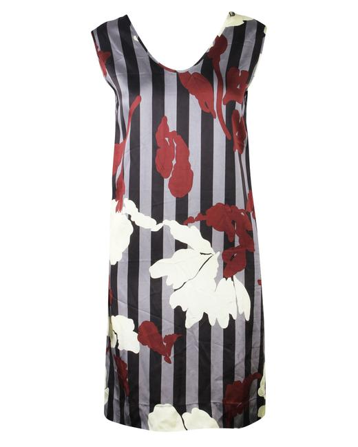 Item - Sleeveless Stripe Floral Print -pre Owned Condition Cocktail Dress