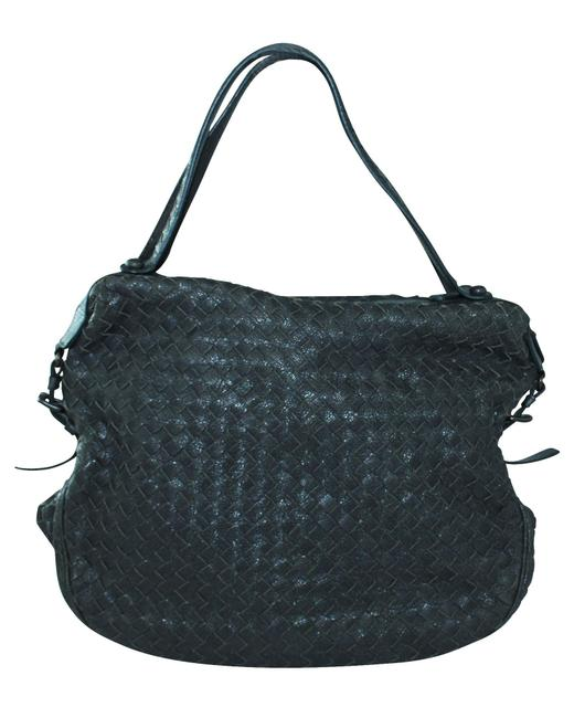 Item - Charcoal Black Intercciato Graine Leather Bag -pre Tote