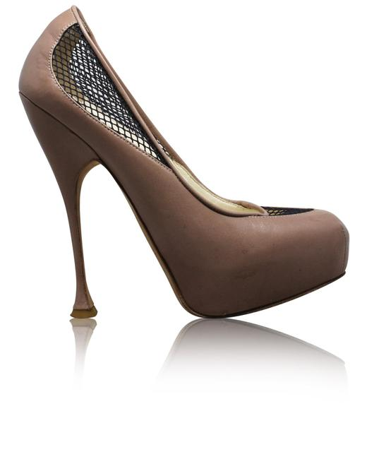 Item - Lace Leather Nude Pump -pre Owned Condition Good 37.5 Formal