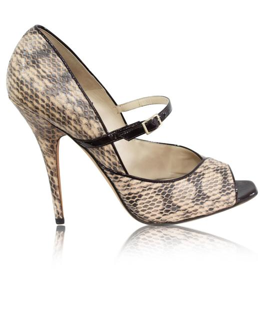 Item - Snakeskin Peeptoe Pumps -pre Owned Condition Excellent 40 Formal