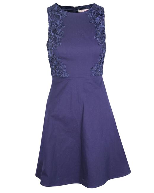 Item - Blue High Waist Lace Top with Flared Skirt S Cocktail Dress