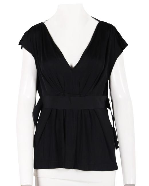 Item - Black Draped Top -pre Owned Condition Blouse