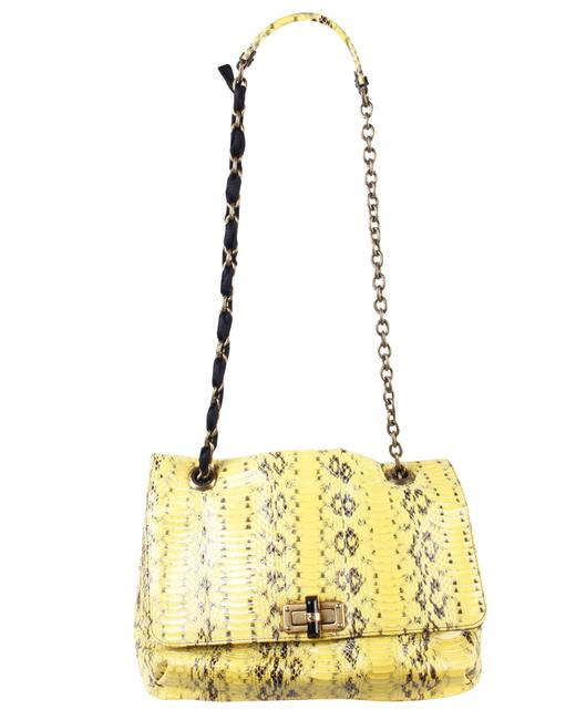 Item - Medium Yellow Happy In Snake One Size Shoulder Bag