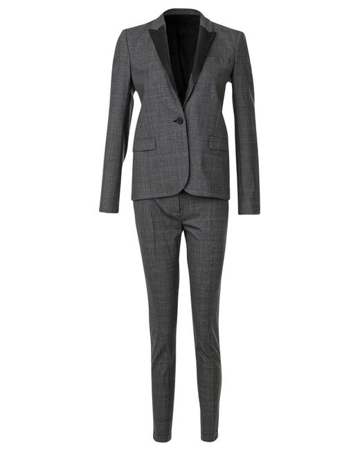 Item - Chequered Leather Lapel Suit -pre Owned Condition Romper/Jumpsuit