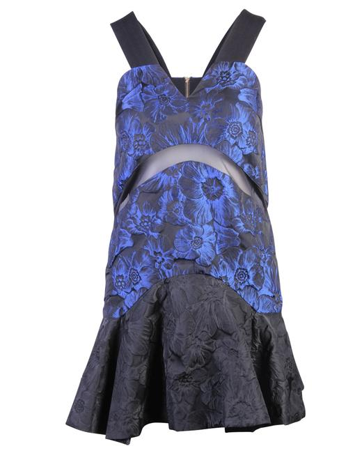 Item - Mini Shining Navy Blue with Flower Printed -pre Formal Dress