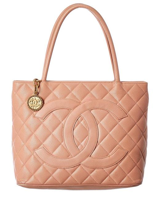 Item - Pre-owned Pink Quited Caviar Leather Medallion 129840 Tote