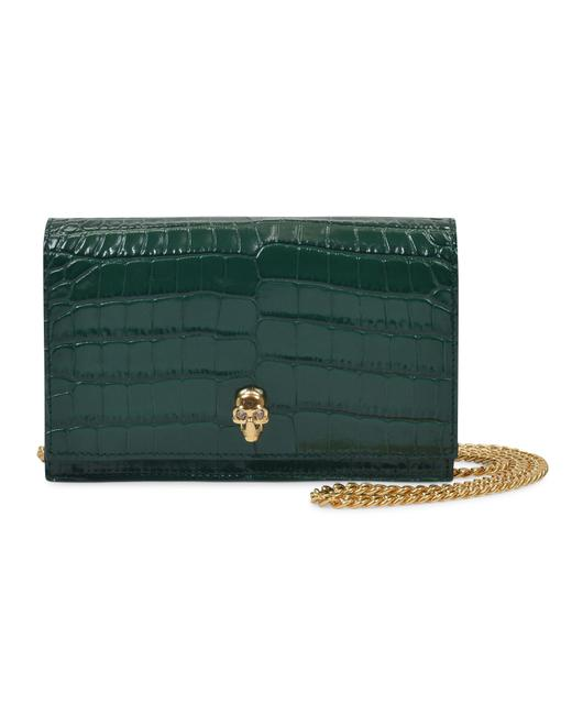 Item - Mini Bag Skull In Green Emerald Embrossed Leather Wallet