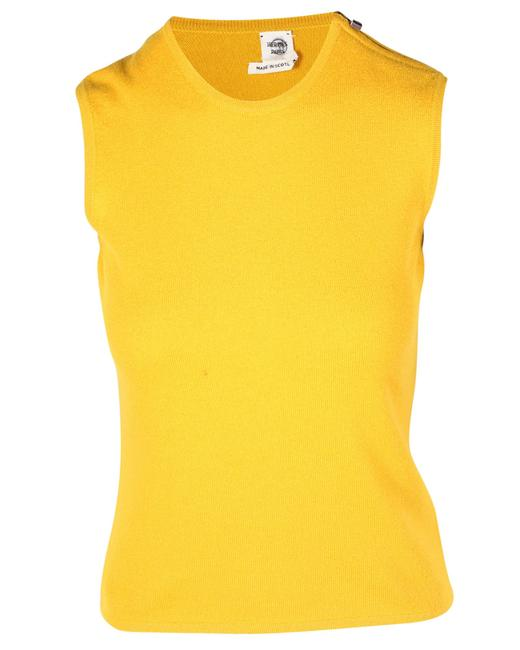 Item - Sleeveless Yellow Cashmere Top with Side Zipper Blouse