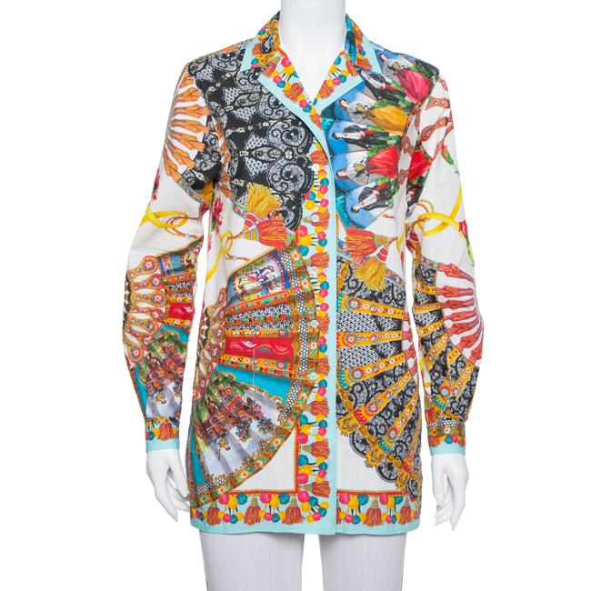 Item - XS Dolce and Gabbana Multicolor Floral Fans Printed Cotton Poplin Shirt Blouse