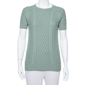 Gucci Pastel Green Cable Knit Short Sleeve Sweater/Pullover