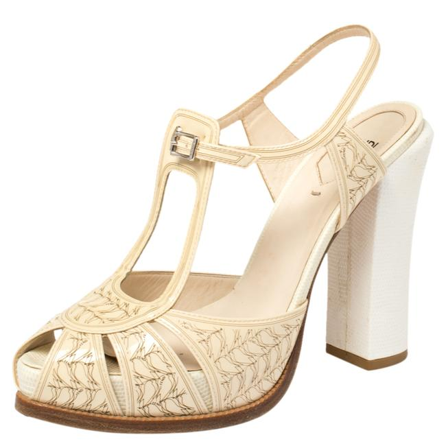 Item - Cream Patent Leather Ankle Strap Platform Size 40 Sandals