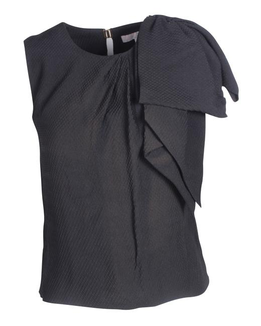 Item - Black Silk Top with Bow Blouse