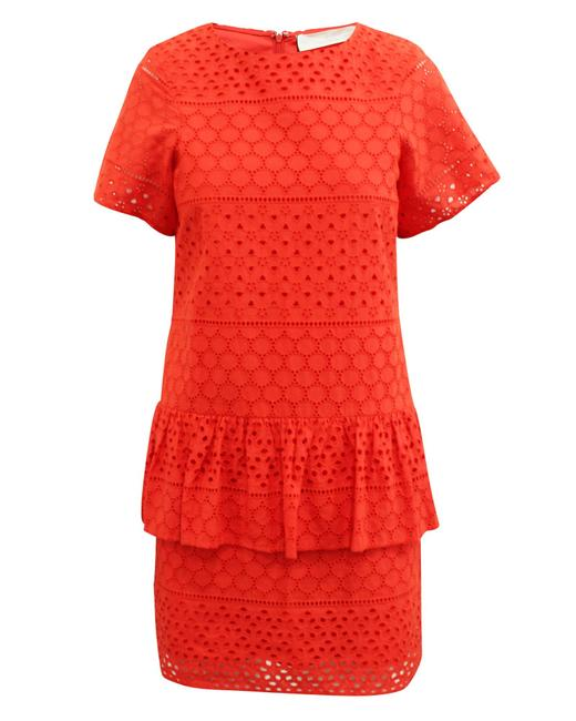 Item - Vibrant Red Embroidered Dress