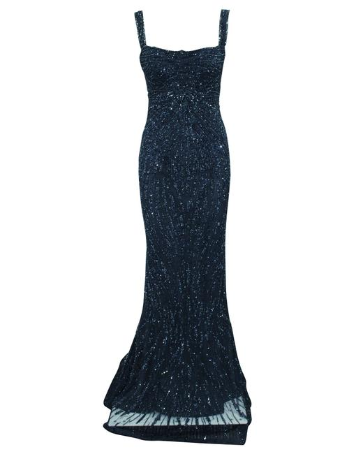 Item - Navy Blue Fishtail Dress with Sequins