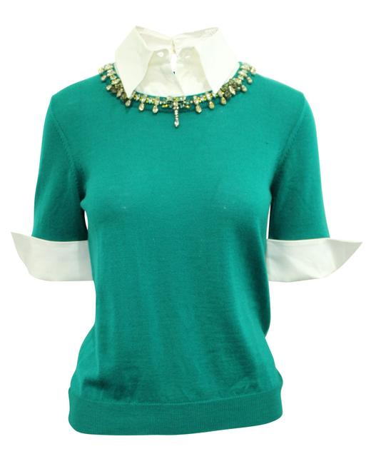 Item - Green Wool Sweater Wit White Collar and Embellishments Blouse