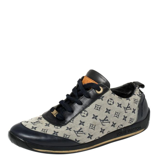 Item - Blue/Grey Monogram Canvas and Leather Low Top Sneakers Size 38 Athletic