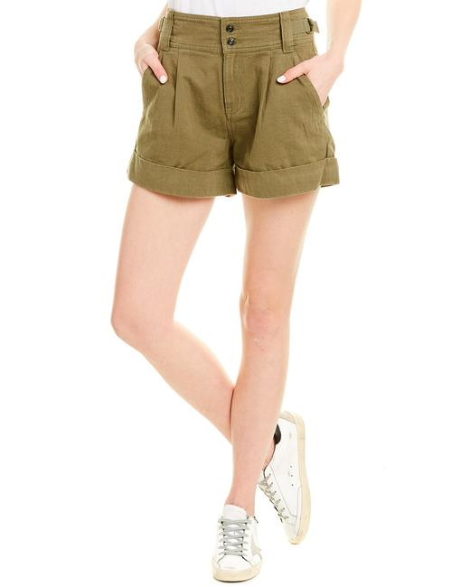 Item - Olive Green Army Linen-blend Short 19-2-004613-sh00709 Relaxed Fit Jeans