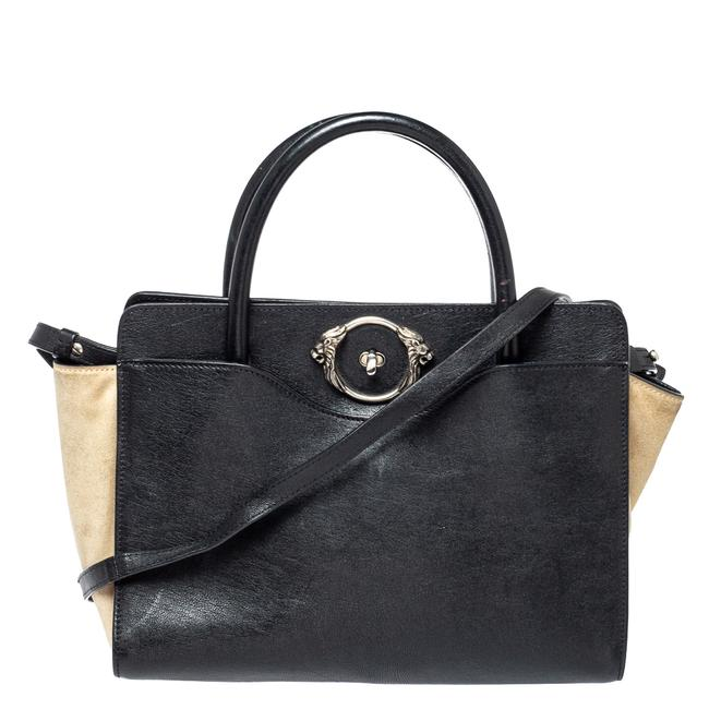 Item - Black/Beige Leather and Suede Lion Head Lock Tote