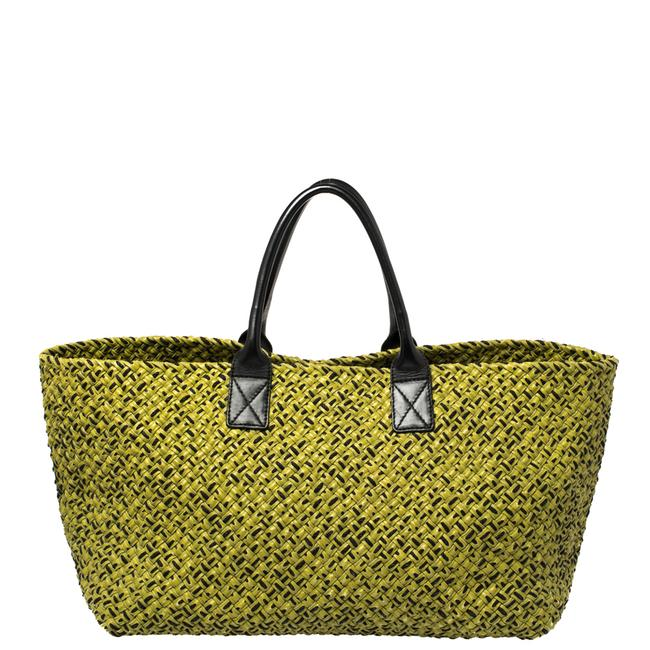 Item - Green/Black Intrecciato Leather and Fabric Limited Edition Large Cabat Tote