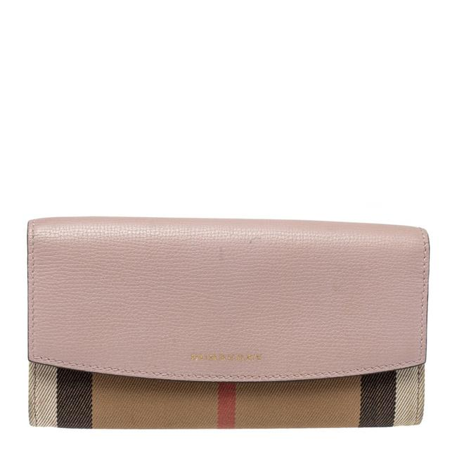 Item - Pink/Beige Housecheck Canvas and Leather Flap Continental Wallet