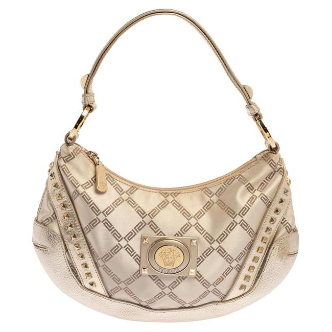 Item - Gold Monogram Canvas and Leather Studded Hobo Bag