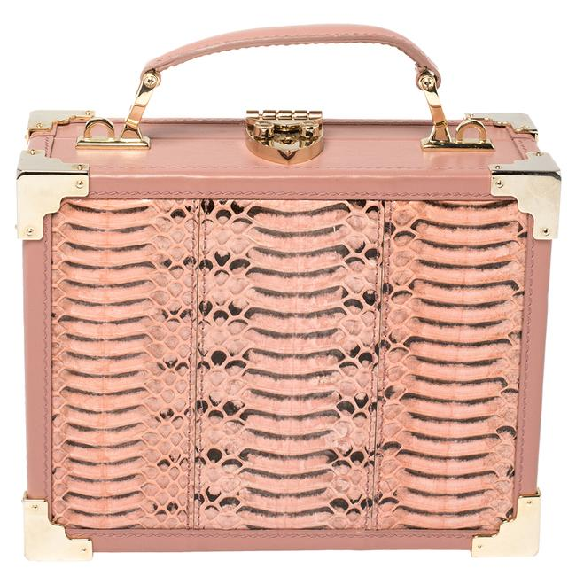 Item - Top Handle Bag Pink Watersnake and Leather Mini Trunk Wristlet