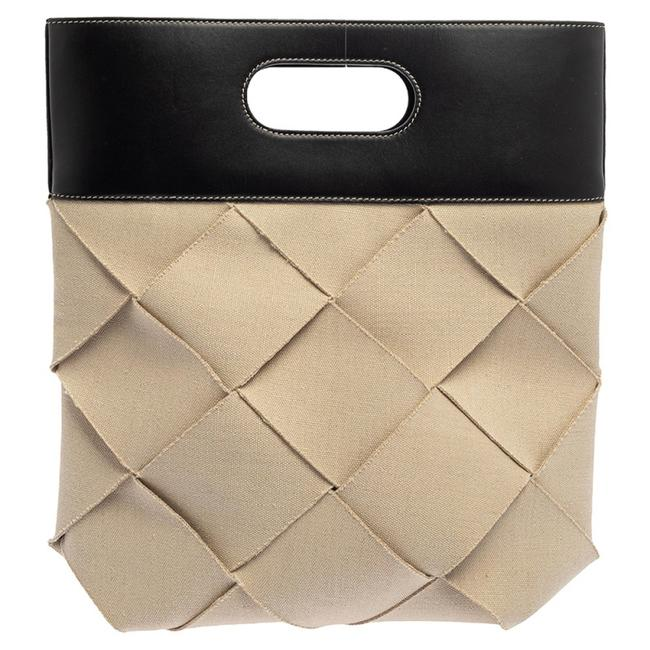 Item - Beige/Black Weave Canvas and Leather Slip Cutout Tote