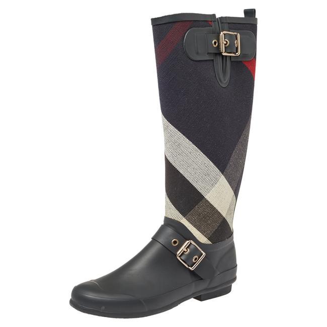 Item - Black Rubber and Fabric Check Buckle Detail Rain Size 38 Boots/Booties