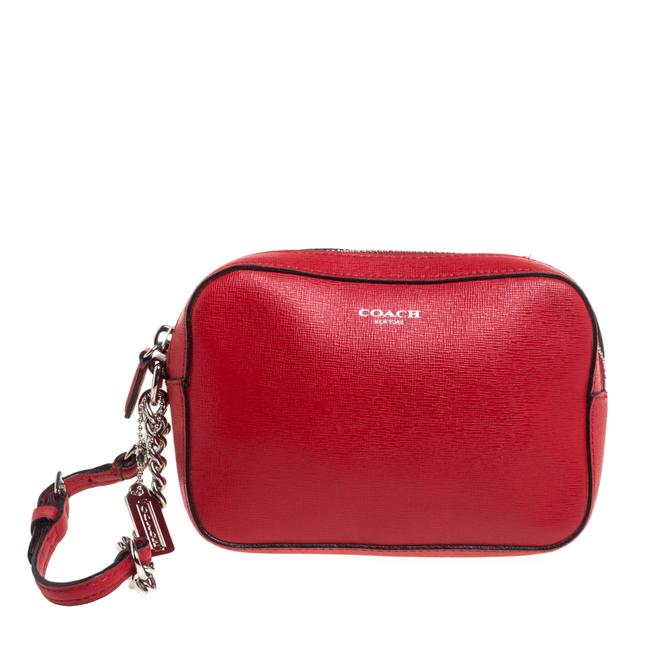 Item - Red Leather Flight Chain Wristlet Clutch