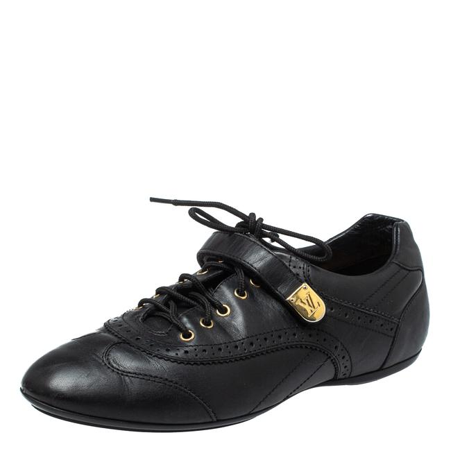 Item - Black Leather Brogue Velcro Strap Sneakers Size 37.5 Athletic