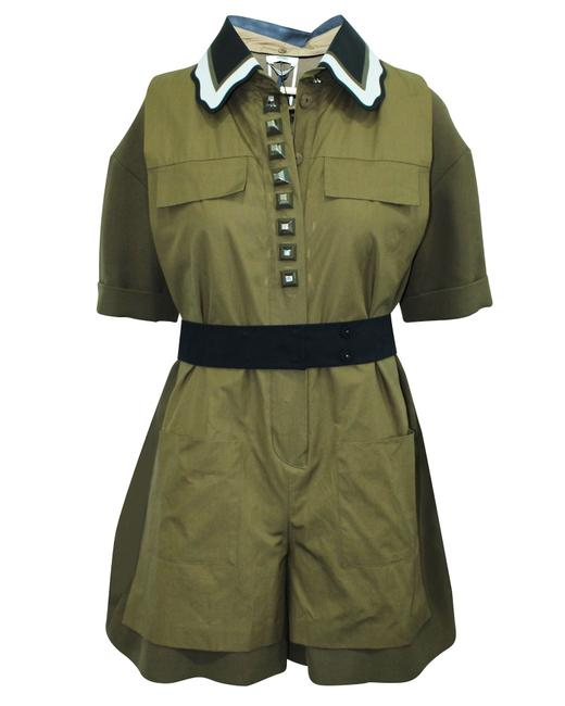 Item - Khaki Leather Trim Playsuit Romper/Jumpsuit