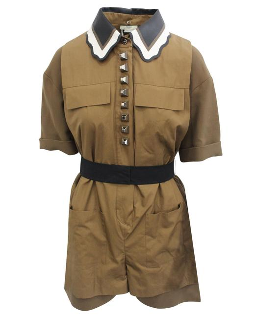 Item - Khaki Collared Playsuit Romper/Jumpsuit