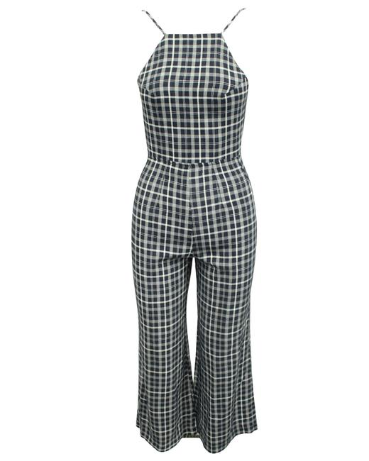 Item - Blue Checked Wide Leg Romper/Jumpsuit