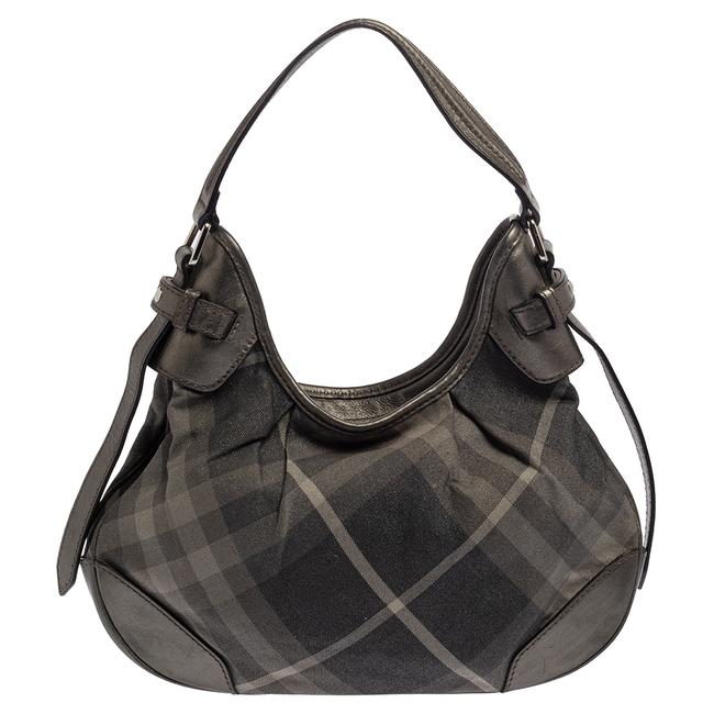 Item - Brooklyn Grey Beat Check Shimmer Canvas and Leather Small Hobo Bag